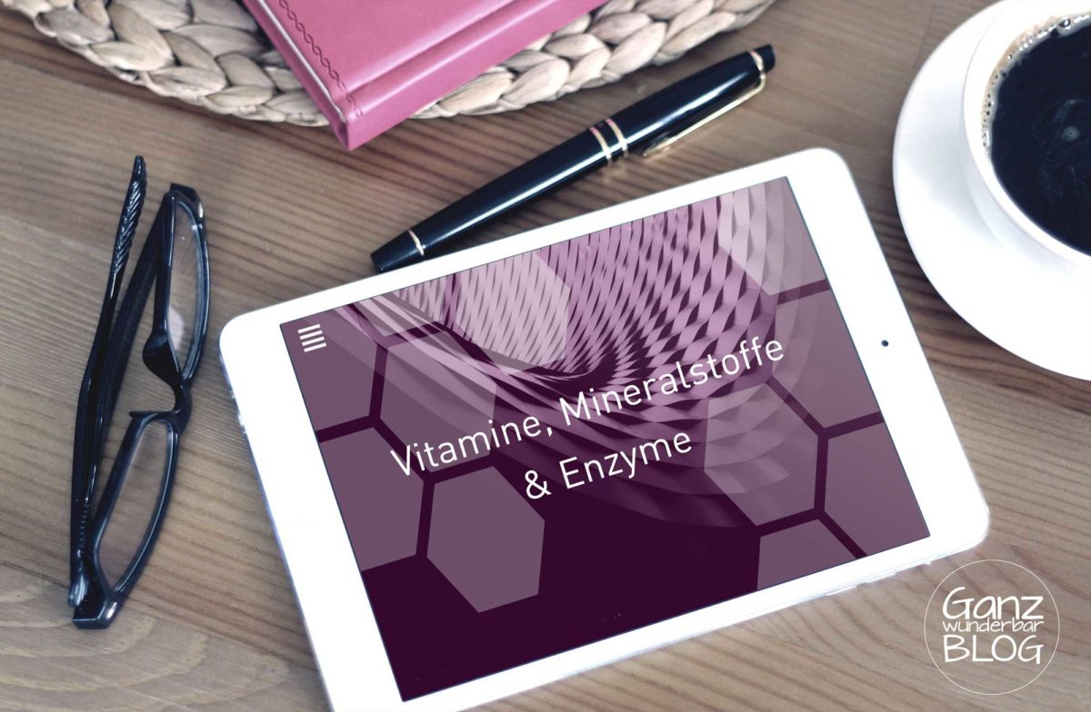 Laptop mit Slogan Vitamine, Mineralstoffe & Enzyme
