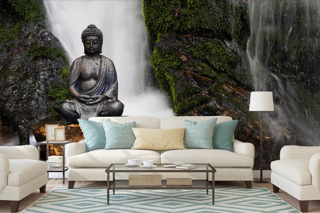 Fototapete Wasserfall mit Buddha im Wohnzimmer
